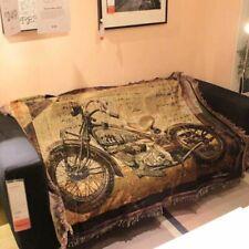 Vintage Motorbike Blanket 120x150cm Bedroom Interior Decor Retro Sofa Cover New