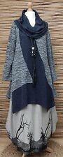 LAGENLOOK*KEKOO*COTTON MIX BEAUTIFUL A-LINE JERSEY TUNIC*NAVY MARL*Size 40-42-44