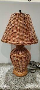 "Vintage 22"" Underwriters Laboratories Inc Wicker/Rattan Accent Table Lamp"