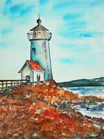 ART PRINT POSTER PAINTING LANDSCAPE SEASCAPE LIGHTHOUSE SHORE SEA SKY LFMP0698