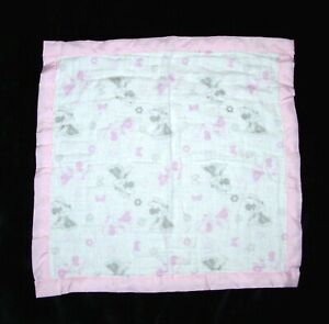 Disney Baby Pink Grey White Minnie Mouse Muslin Security Blanket Lovey