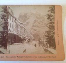 Stereoview Card Wetterhorn Swiss Alps 1901 Switzerland B W Kilburn Antique Photo