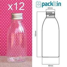 12 x 100ml CLEAR TAPERED PLASTIC BOTTLES + screw top lids - tableware for party