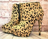 Womens Topshop Animal Print Leather High Heel Platform Ankle Boots UK 5 EUR 38