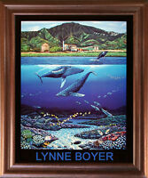 Tropical Whale & Dolphins Underwater Coral reef Wall Art Decor Framed Picture