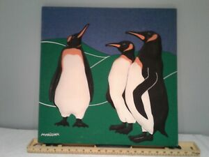 """Marushka Penguin 3D stretched fabric canvas art mid century 20""""×20"""" see"""