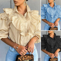 Size Womens Ladies Ruffled Puff Sleeve Victorian Shirt Tops Formal Gothic Blouse