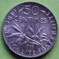 FRANCE 50 CENTIMES SEMEUSE 1917
