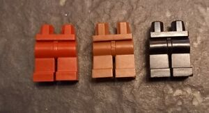 Lot of 3 x Genuine Lego Legs for minifigures-Black-Brown-Brick Red