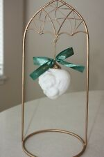 Wedgwood Puffed Bisque Heart Shaped Angel Christmas Ornament-boxed w Stand