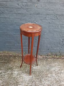 Retro Tall wooden circular Plant Stand side table ornament stand Vintage