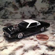 JOHNNY LIGHTNING 73 DODGE CHARGER DIE CAST CAR 1/64 SCALE 1973 BLACK WHITE TOP