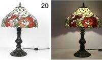 Tiffany Lamp W12 H18 Floral Red Yellow Style Stained Glass Shade