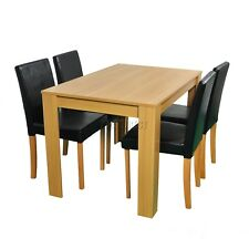 Westwood Set of 4 PU Faux Leather Chairs Furniture Oak for Dining Table