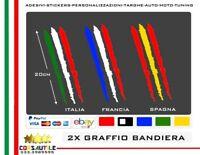 ADESIVO PRE SPAZIATO BANDIERA TRICOLORE FORMA GRAFFIO CARROZZERIA A SCELTA 2 PZ