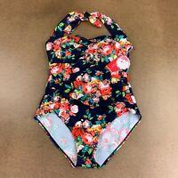 Dai Ioni Women's Plus Size 3XL Navy Floral One Piece Tummy Control Swimsuit NWT