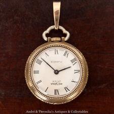 Vintage MEDANA LADIES Pocket Watch Pendant Antique Brass 17 Jewels Swiss Lady's