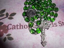 Pewter (9 x 7 mm Green Oval Glass bead) - St Gabriel centerpiece -  Rosary