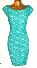 BNWOT Stunning OASIS Izzey Turquoise Lace Lightly Fitted Shift Dress UK 10 US 6