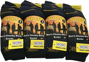 Work Socks Mens Black Thermal Socks Thick Warm Chunky Work Boot Socks Size 6-11