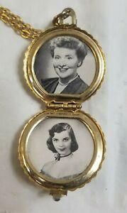 Vintage CORO Goldtone 4 Picture Locket Necklace w Original Pictures