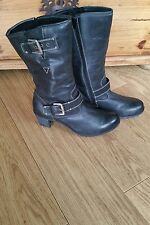 Josef Seibel Ladies Engineer Black Fur Lined Biker Boots Size 8 41