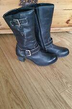Josef Seibel Ladies Engineer Black Leather Fur Lined Tall Biker Boots Size 8 41