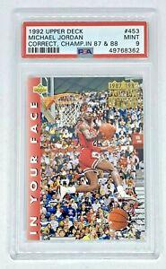 1992-93 UPPER DECK #453 MICHAEL JORDAN CORR-CHAMP IN YOUR FACE Bulls PSA 9 Mint