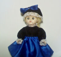 VINTAGE  GINGER DOLL BLUE SILK & NEW VELVET OUTFIT,  PLASTIC WALKER MODEL, VGC