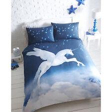 Unicorn King Size Duvet Cover and 2 Pillowcase Bed Set Polycotton Blue