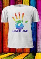 Hand Print Love Gay Pride Rainbow Lesbian LGBT Men Women Unisex T-shirt 941