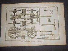 1790 ENGRAVING DIDEROT/LAMARCK ART MILITAIRE NOUVELLE ARTILLERIE PL. 2 ARTILLERY