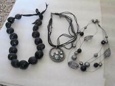 "LOT 3 BLACK Necklaces 1 - 3 Strand Adj 16"", 1 Kukui Nut 20"", 1 Ribbon Pendant 14"