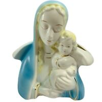 Vintage Blessed Mother and Baby Jesus Ceramic Bisque Planter Madonna Christian