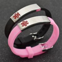 Silicone Meadical Alert Sign Bracelet Bangle Emergency Allergy Wristband Gift