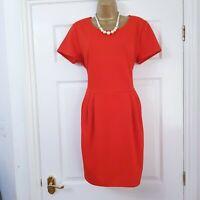 RIVER ISLAND Red Pleat Detail Stretch Snakeskin Texture Shift Dress Pocket UK 16