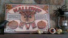 "NWT 18"" RAZ HALLOWEEN Owl Jack O Lantern METAL WALL SIGN Decor Vintage look"