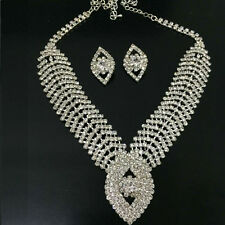Handmade Wedding Bride Rhinestone Beaded Jewelry Necklace Earring Set Silver