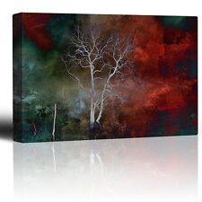 Lone Tree Over a Red and Teal Watercolor Paint - Canvas Art Home Decor - 32x48
