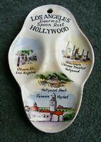 Vintage 1950's Los Angeles / Hollywood CA Ceramic Spoon Rest Travel Souvenir