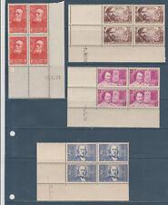 timbre France bloc de 4 coin daté  chomeurs intellectuels 1939 num: 436/39  **