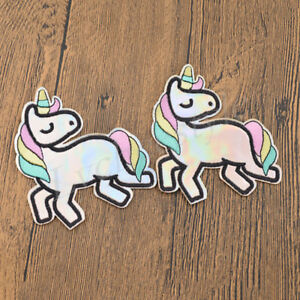 2pcs Unicorn Holographic Patches Embroidered Iron On Patch For Clothing Applique