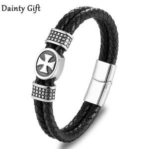 """MEN/ Women Religious Cross Black Braided Leather Bracelet / Wrist Bangle 6.5-9"""""""