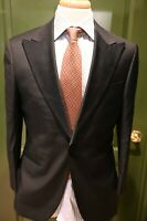 SuitSupply Peak Lapel Black Tuxedo Wool 2 Piece Suit Size 38S
