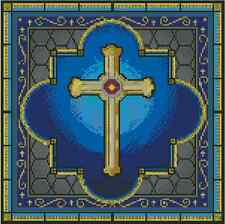 Gold Cross Stained Glass Counted Cross Stitch Chart No. 15-110