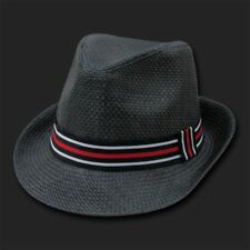 BLACK STRAW WOVEN FEDORA HAT HATS FEDORAS SIZE SM/MD