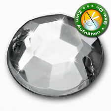 65 Strass-Steine zum Aufnähen, 16 mm, Crystal (Aufnähsteine aus Acryl)