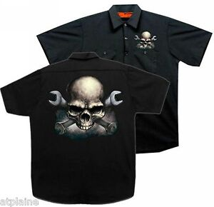 Chemise garage MC WRENCHES SKULL - Taille M - Style BIKER HARLEY