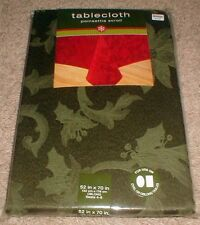 "Green Poinsettia Scroll Christmas Holiday Tablecloth 52"" by 70"" Oblong"