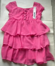 NWT DKNY GIRLS S/S POP PINK FRILLY PARTY DRESS SIZE 5 $55
